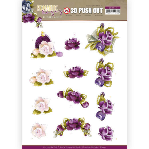3D Push Out - Precious Marieke - Romantic Roses - Purple Rose