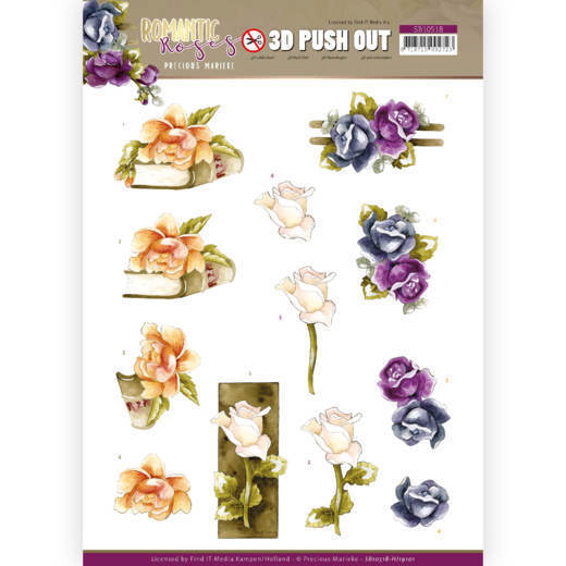3D Push Out - Precious Marieke - Romantic Roses - Multicolor Rose