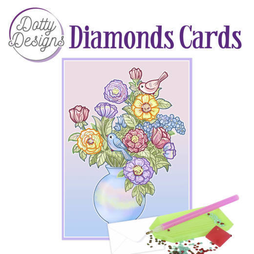 Dotty Designs Diamond Cards - Vase with flowers