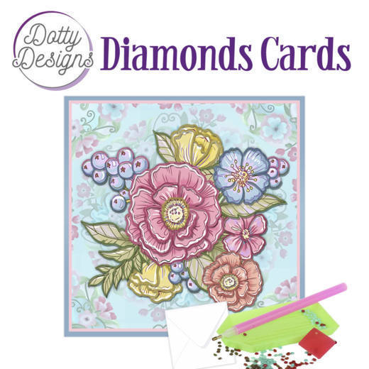 Dotty Designs Diamond Cards - Pastel Flowers