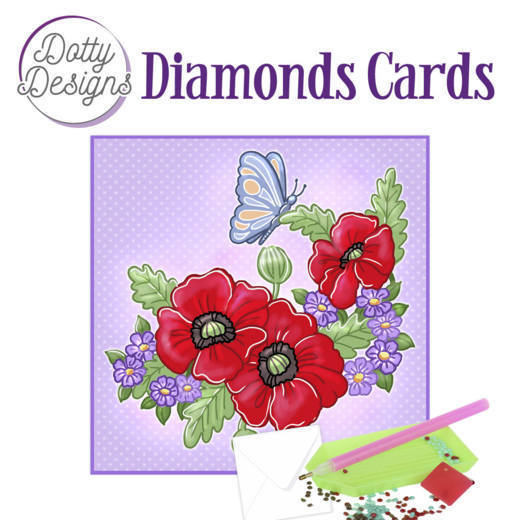 Dotty Designs Diamond Cards - Red Flowers