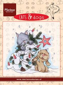 Clear stamp cats & dogs tree decorating