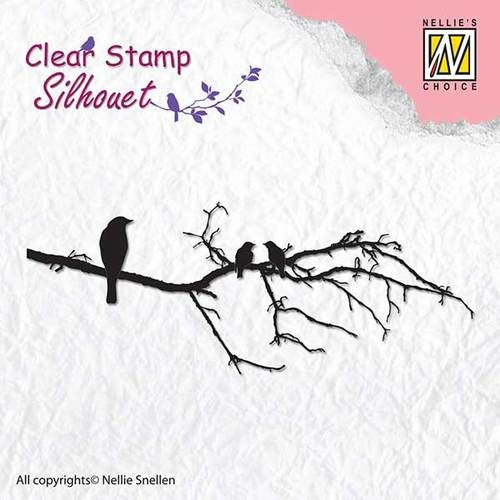 Clearstamp silhouet branch with birds -1