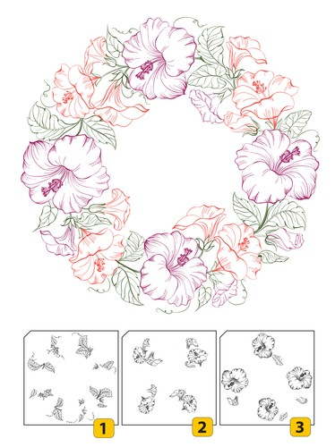 Clearstamp layered flower wreath 1