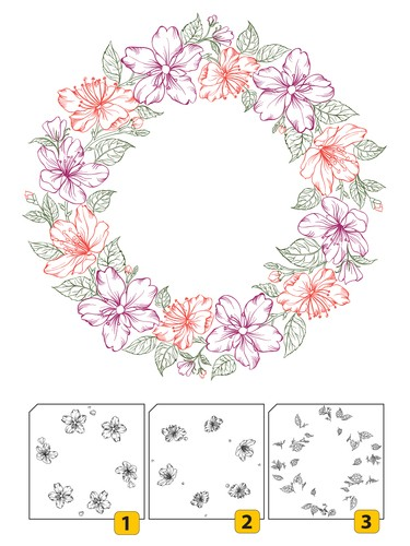 Clearstamp layered flower wreath 2