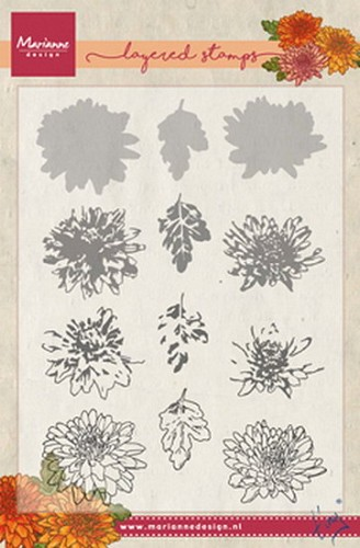 Clear stamp Tiny`s chrysant ( layering)