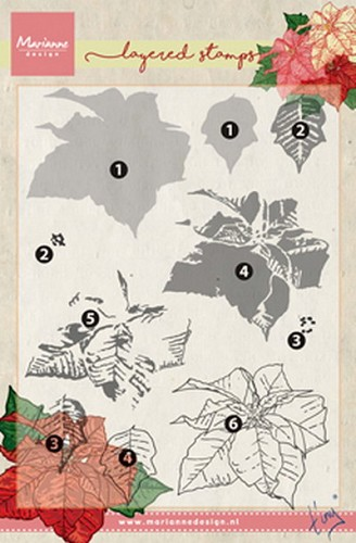 Clear stamp Tiny`s poinsettia ( layering)