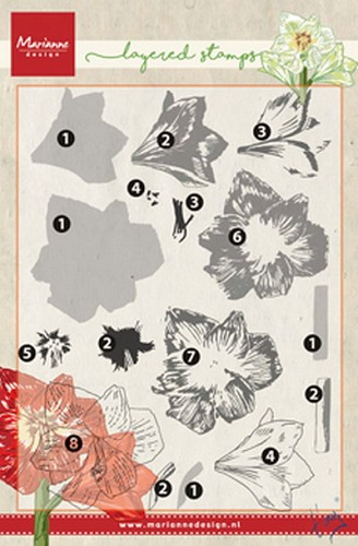 Clear stamp Tiny`s amaryllis ( layering)