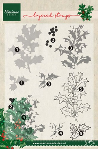 Clear stamp Tiny`s holly ( layering)