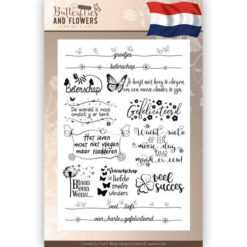 Butterflies & Flowers Clearstamp tekst NL