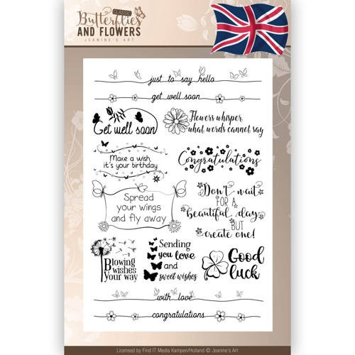 Butterflies & Flowers Clearstamp tekst ENG