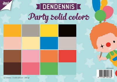 Joy papierset Dendennis Party solid colours