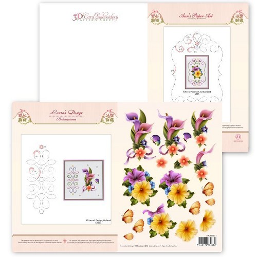 3D Card Embroidery Pattern Sheet #21 with Ann & Laura  Ann`s Paper Art